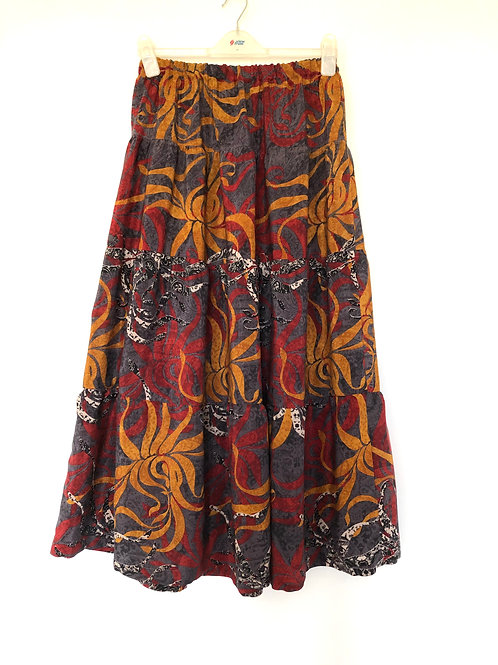 TIERED GYPSY SKIRT, 'Samudr', vintage Indian silk crepe, ankle length, 4 tiers