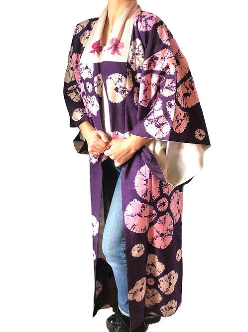 ICHIKA KIMONO, antique silk Juban with floral SHIBORI  design