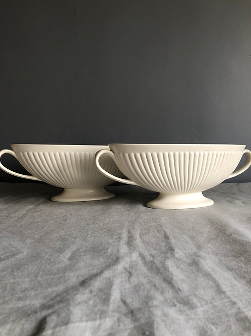 PAIR WEDGEWOOD VASES, Ribbed Moonstone, Constance Spry des