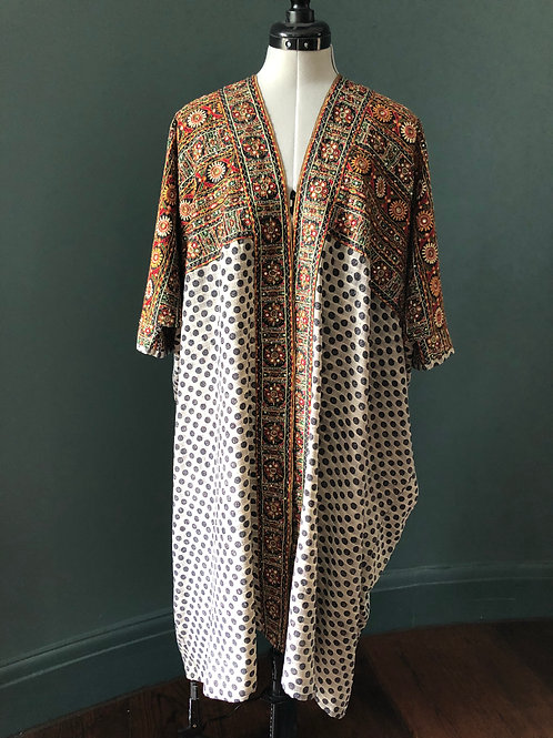 CARRIE KAFTAN KIMONO ca7 in Mirror Dot vintage Indian silk with embroidery, cuff