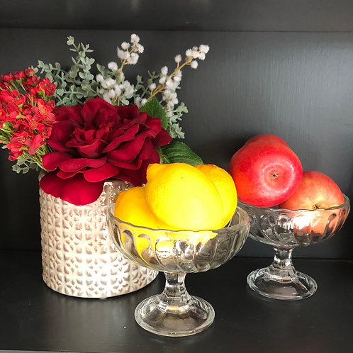 VINTAGE FRENCH COMPOTE DISHES, pair of glass bowls for fruit, nuts, bon-bons.