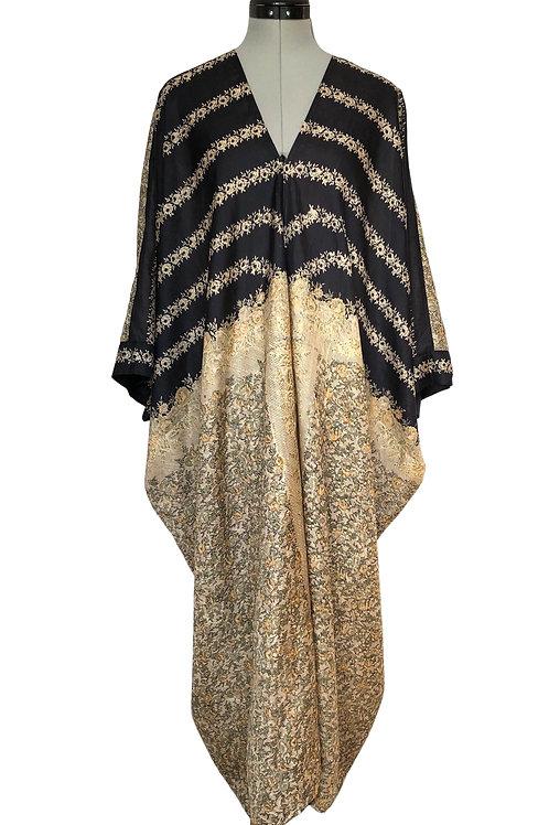 AMELIA KAFTAN  a27, vintage Indian sari silk in cream & black, loungewear