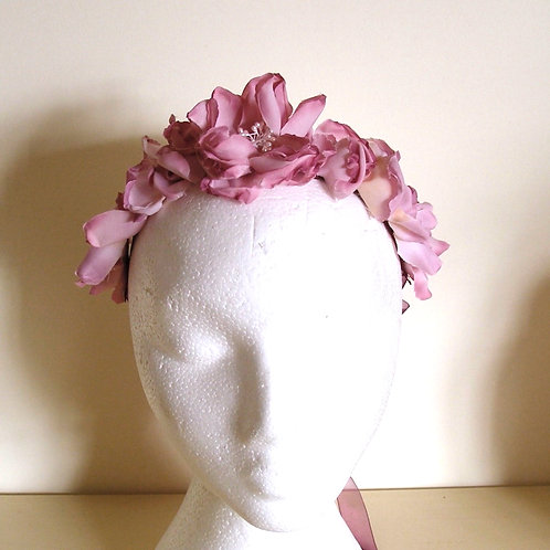 FLORAL HEADBAND, Silk flowers in pink and lilac with ribbon tie