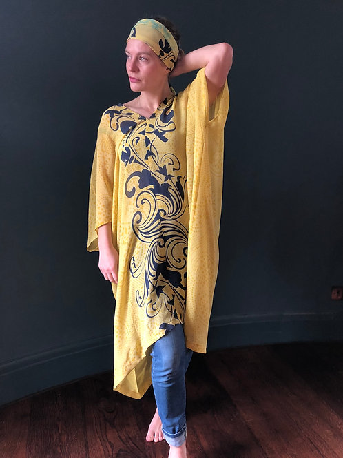 AMELIA KAFTAN  a28, vintage Indian silk georgette, yellow & black, loungewear