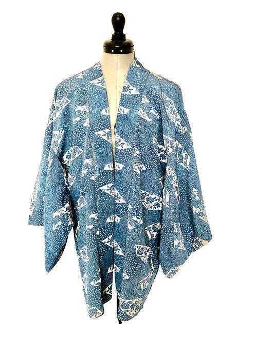 INDIGO TREE PEONY, 1970-80s vintage Japanese silk Kimono Haori jacket,