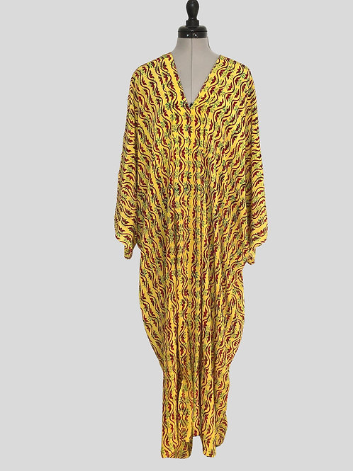 'POIROT' FLORENCE KAFTAN F1,  vintage Indian Silk, pleated front, short sleeve