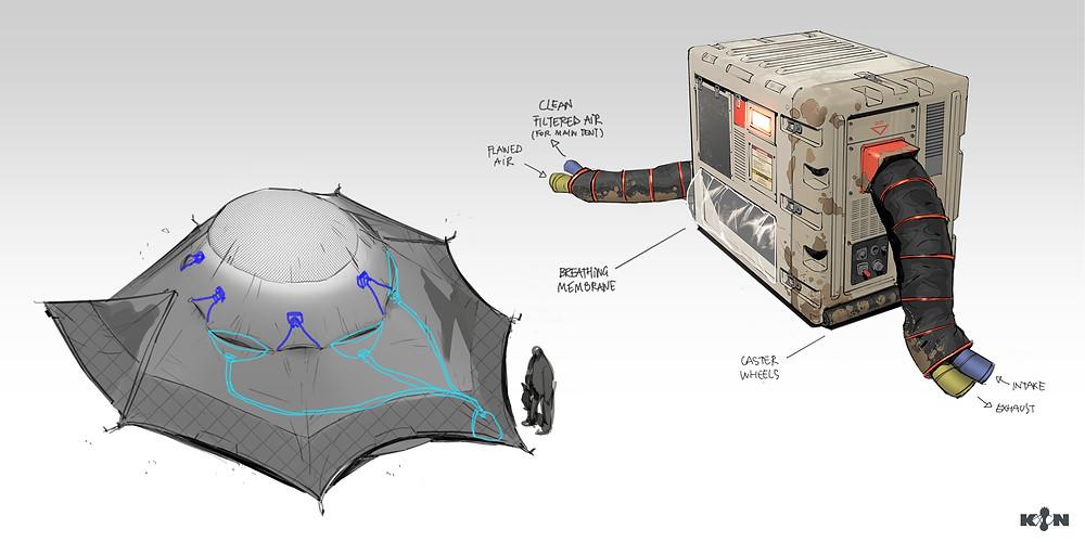KIN – Mycocene | Tent details and AC unit design