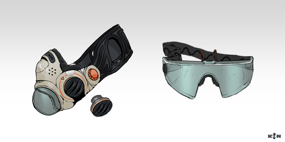 KIN – Mycocene | Mask design with a pair of goggles that clips on top