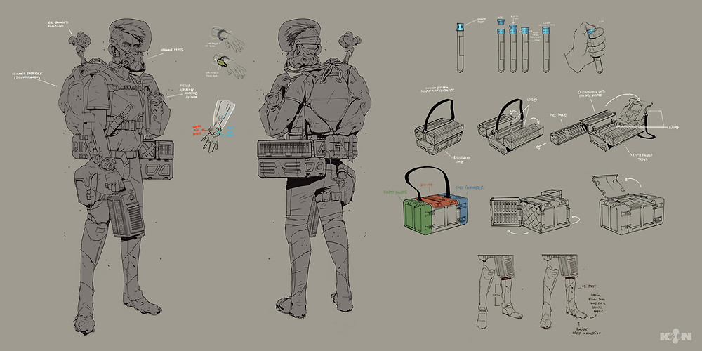KIN – Mycocene | Rain line-art concept