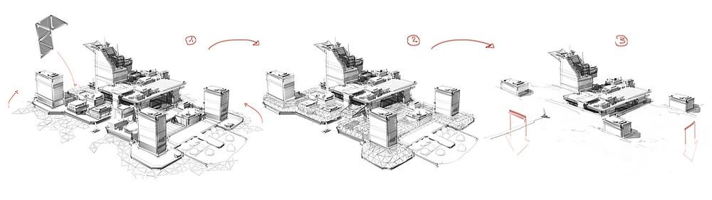 KIN – Mycocene | Sketch working out the Raft's defense mechanism