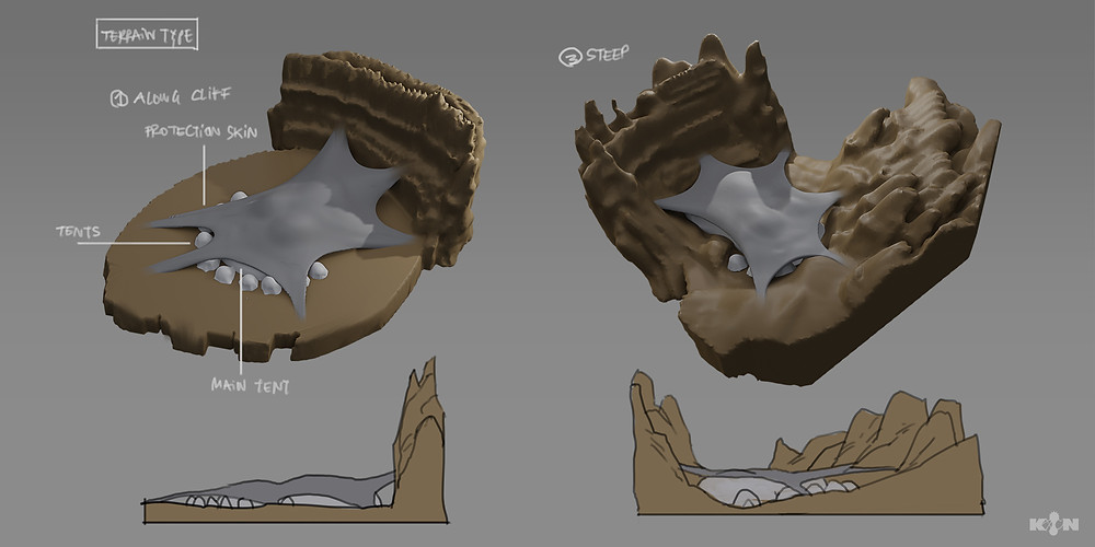 Quick 3D sculpts created in Medium to visualize tent layouts.