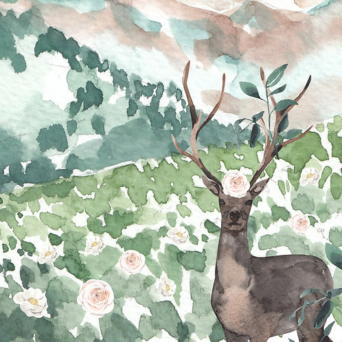 Deer with Florals Greeting Card