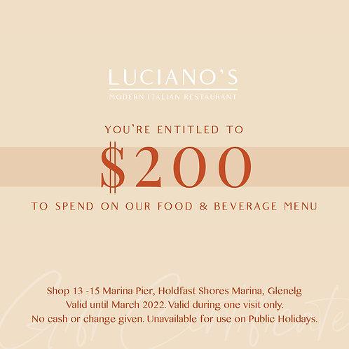 Luciano's Italian Restaurant $200 Gift Voucher