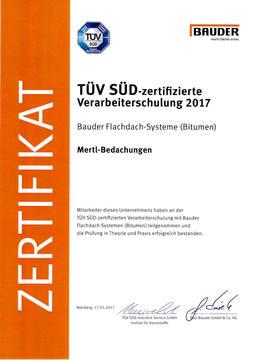 Bauder_Flachdach_TÜV_Zertifikat_Bitumen.