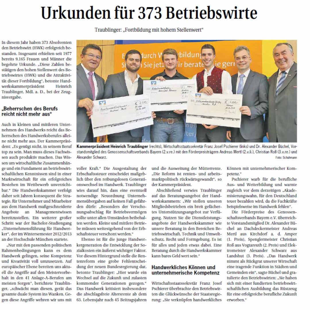Artikel Andreas Mertl HWK Handwerk Dachde