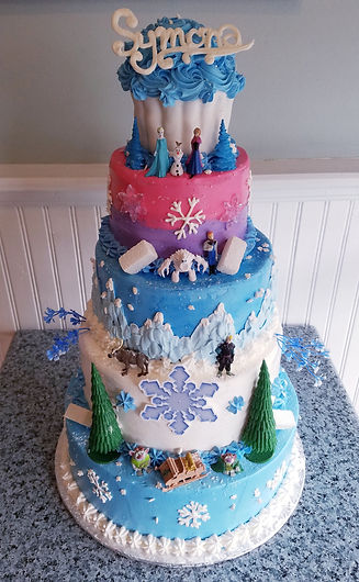 5 Tier Frozen Birthday Cakejpeg