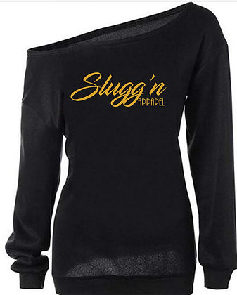 Slugg'n Apparel Long Sleeve Off the Shoulder  Gold Letters