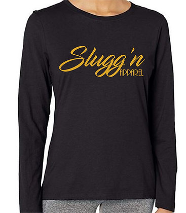 Slugg'n Apparel Long Sleeve Crewneck Tee Gold Letters