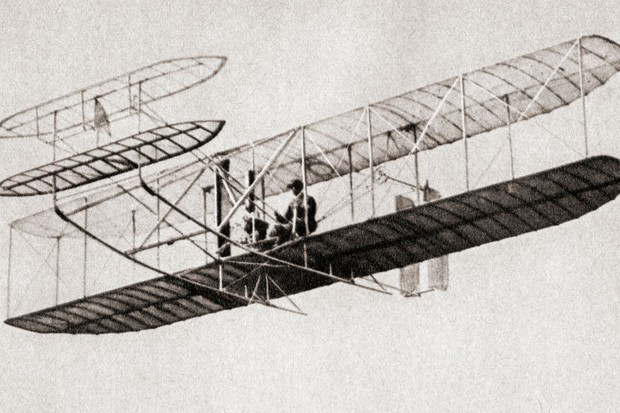 This image is of the first flight that is heavier than air.