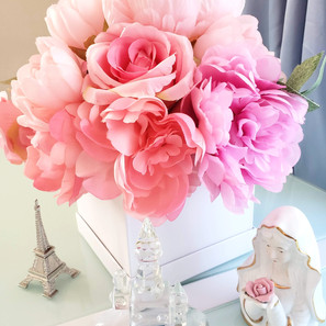 silk pink, peach and coral peonies