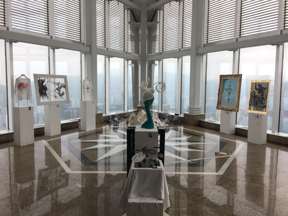 Different installations including fashion, sculpture, calligraphy, collafge, viaual art and more