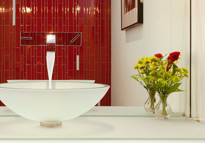 glass vessel; sink; powder room; red; dornbracht; vitraform; walnut vanity; bath design