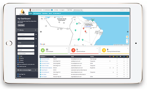 certification tracker screenshot from comaea
