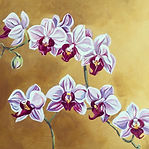 White Orchids on Gold