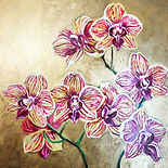 Painting of Orchids on Gold