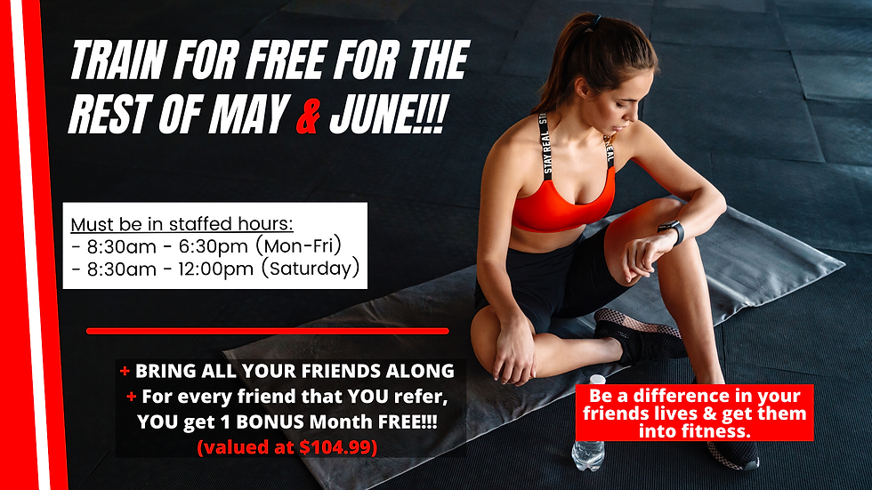 Train for free for the rest of MAY & JUN