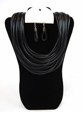 Black Rope Necklace Set