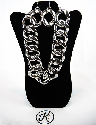 Silver Chunky Link Necklace Set