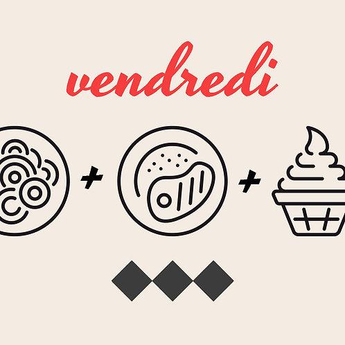 Velouté Bistro ou Poireaux vinaigrette + Jambon madère ou Poulpe+ Tiramisu