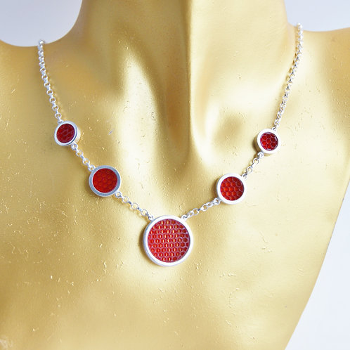 Mini Hexagon Post Earring Necklace Red