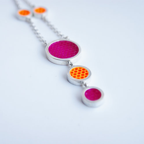 Mini Hexagon Post Earring Necklace Pink and Orange
