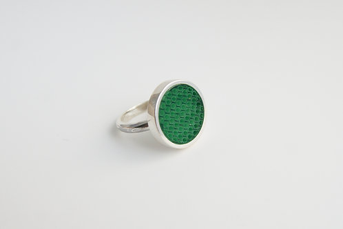 Micro hexagon Cocktail Ring Green