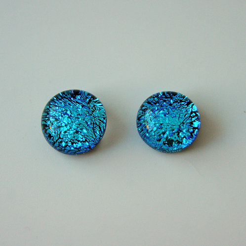 Blue dichroic glass and sterling silver post and scroll earring studs