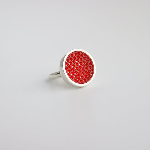 Micro hexagon Cocktail Ring Red
