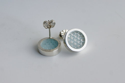 Glass Blue Post Earrings