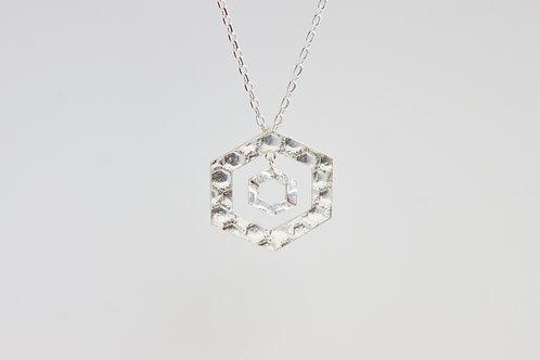 textured hexagon dangle pendant