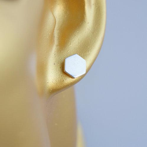 hexagon small stud earrings size 4