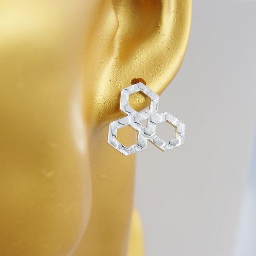textured hexagon cluster post earrings