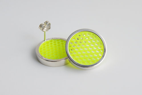 Mini Hexagon Post Earring Yellow