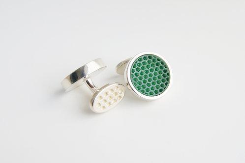 Mini Hexagon Cufflinks Green