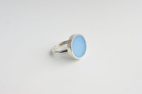 Micro hexagon Cocktail Ring Pale Blue
