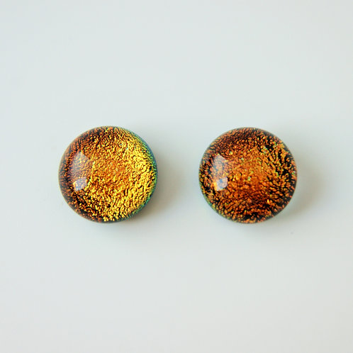 Rust dichroic glass and sterling silver post and scroll earring studs