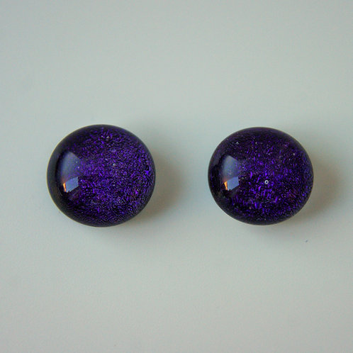 Purple dichroic glass and sterling silver post and scroll earring studs