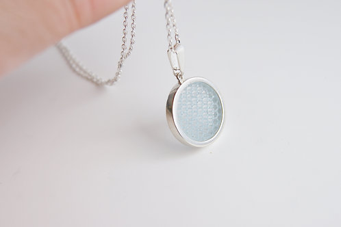 Micro Hexagon Pendant Pale Blue