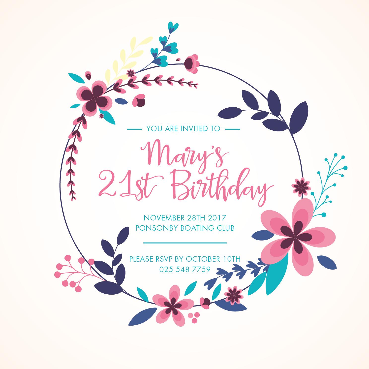 Floral BD Invite