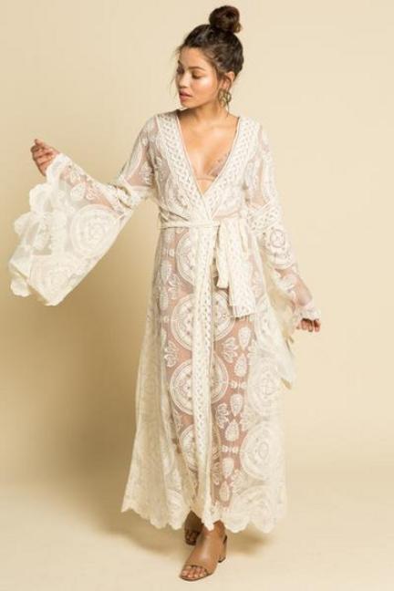 Boho Wedding Dress Kimono Caftan Robe Lace Wedding Dress Caftan Wedding Dress